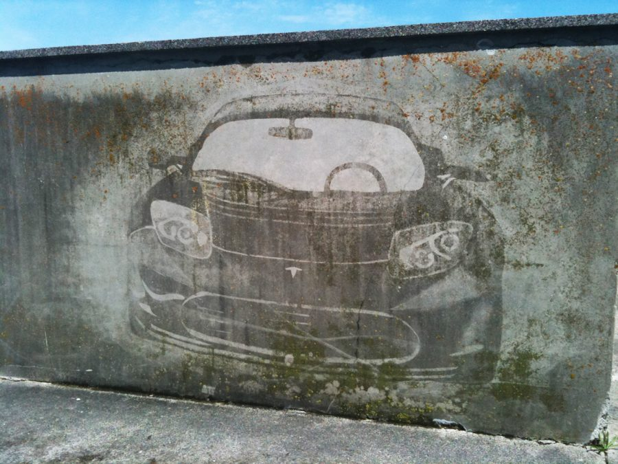 Tesla Reverse Graffiti wall art
